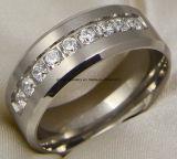De Ring van het Titanium van de Steen van het Glas van het Roestvrij staal van de manier (TR1826)