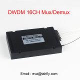 Rectángulo de fibra óptica Mux/Demux DWDM del ABS del multiplexor 100GHz 1X4/1X8/1X16