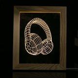記念品のための木製フレームLEDのイヤホーン夜ライト