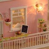 DIY Luz hermosa miniatura de madera casa de muñeca de juguete