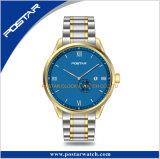 Het Horloge van het Roestvrij staal van mensen 316L met Lichtblauwe Wijzerplaat