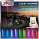 Smart Phone APP Controle LED Whip, 3 Feet, 4feet, 5feet, 6 Feet Long Whips LED para ATV UTV Cars Pole Light