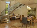 Madeira interna escadaria de vidro curvada de Helica das escadas para o exterior