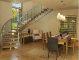 Escalera curvada de madera de interior Escalera de cristal de Helica para el exterior