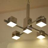 Moderno cuadrado de cromo LED lámpara colgante de iluminación para el hotel