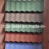 Telha revestida de pedra colorida do telhado da folha de metal da microplaqueta/metal da pedra