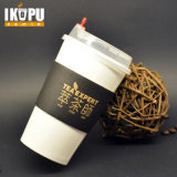 Único papel de pared taza de café con tapa y manga