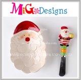 Jeu en céramique de plaque et d'écarteur de serpent de bonhomme de neige de cadeau fabriqué à la main fait sur commande de Noël