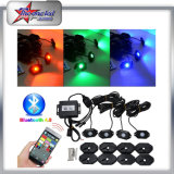 4 Pods LED Rock Light Kit RGB de color cambiable Bluetooth Control de Música Flash Offroad LED Rock Light