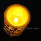 """La bella cerimonia nuziale ha decorato l'uccello ha stampato 4 """" candele senza fiamma della colonna LED"""
