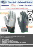 Le nylon de mesure de Nmsafety 10 et la norme ANSI de couture 3 de cuir de fibre de doublure de paume d'Aramid et en acier ont coupé le gant résistant
