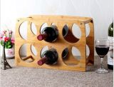 Vinho de bambu 6 garrafas rack suporte de armazenamento prateleira de madeira decoração de adeus iluminação