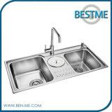 De beste Gootsteen van de Keuken van het Staal van de Kom van de Prijs Dubbele Materiële (BS-7019F)