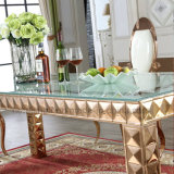 Tabella pranzante di vetro di stile del quadrato dorato registrabile reale lussuoso dell'acciaio inossidabile per le cerimonie nuziali