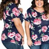 La camiseta impresa flor de las mujeres de la manera arropa la blusa