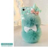 Cassa di lusso del telefono di Bling del coperchio della peluche di Rex del coniglio della pelliccia lanuginosa alla moda dei capelli per il iPhone