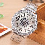 Reloj del cuarzo de las mujeres de Digitaces de la cubierta del acero inoxidable