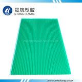 Hoja hueca de policarbonato verde por 100% de resina Sabic