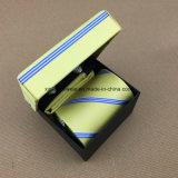 100% Handmade Woven Silk Tie Cufflinks Hanky com caixa Set
