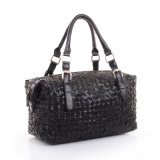 Lady Genuine Leather Knitted Handbag Sacola de pele de pele de carneiro