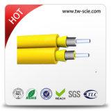 Câble fibre optique serré de mémoire tampon de 2 faisceaux avec le filé en verre d'E, câble blindé de fibre optique