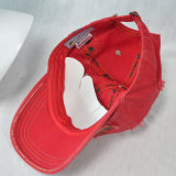 赤6のパネルの綿によって洗浄される帽子プリント野球帽