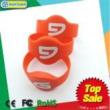 bracelete do silicone da faixa de pulso RFID de 125kHz TK4100 para o controle de acesso