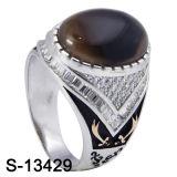 Monili di modo 925 anelli d'argento di Zirconia con la pietra naturale