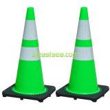 Cono reflexivo verde del camino del tráfico del PVC del color 28inch