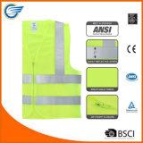Alto chaleco de la seguridad de la visibilidad con la cremallera y el estándar del ANSI Isea