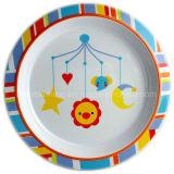 Круглая плита обеда меламина малышей с логосом