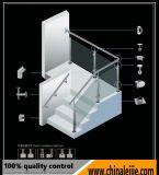 Projeto de vidro dos trilhos do aço inoxidável