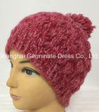 Moda Hat Pink Cable Tricô com Pompom (Hjb060)