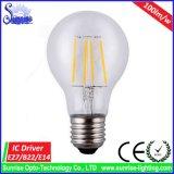 Amortiguación de la lámpara del bulbo del filamento de Ce&RoHS E27 A60 6W LED