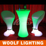 Mais tamboretes da cadeira da tabela e da barra de cocktail da mobília da barra do casamento do diodo emissor de luz 300desigsn