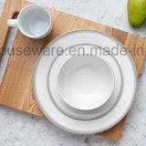 Het vaatwerk plaatste de Platen van het Diner van 16 Stukken de Witte Schotels van de Keuken met Grijze Strepen
