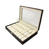 24 caixas de relógio de couro do plutônio dos entalhes