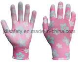 Le gant estampé de travail de polyester avec la paume d'unité centrale a enduit (PN8014-4)