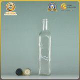 La forme carrée 500ml effacent la bouteille de pétrole en verre de couleur (104)