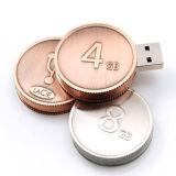 주문을 받아서 만들어진 동전 모양 USB 섬광 드라이브