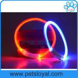 Colar de cão recarregável do animal de estimação do diodo emissor de luz da fibra do USB dos acessórios do animal de estimação