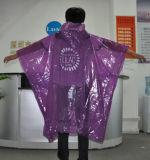 Purpurroter Qualitäts-Poncho für Förderung Wegwerf-PET Poncho-Plastikpolyäthylen PET Poncho Rainsuit