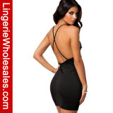 Sexy Ladies Negro cabestro Criss-Cross detrás mini vestido