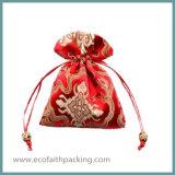 Мешок малого подарка Drawstring выдвиженческий при ткань сатинировки рекламируя мешок