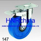 Blauer Belüftung-Rad-Schwenker mit doppelter Verriegelungsplatten-Oberseite-Fußrolle