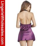 Reeks van de Lingerie van het Nachthemd van het Satijn van het Kant van sexy Vrouwen de Ruglooze Halterneck