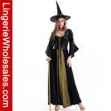 Классицистические женщины черные и Costume Cosplay ведьмы зеленого длиннего платья девичий с черной тельняшкой