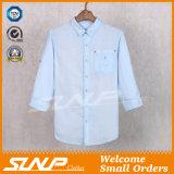Mens arbeiten natürliches halbes Hülsen-Leinent-Shirt um