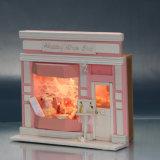 Mini casa de boneca de madeira branca para o presente das crianças