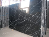 El panel de piedra de la cultura, mármol negro de Nero Marquina, el panel de mármol, piedra de la pared